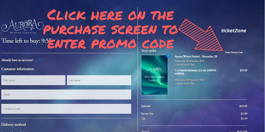 Promo code screengrab